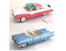 Franklin Mint - Scale 1/24 - Cadillac Eldorado Biarritz 1959 & Ford Fairline Crown Victoria 1955 with Certificates