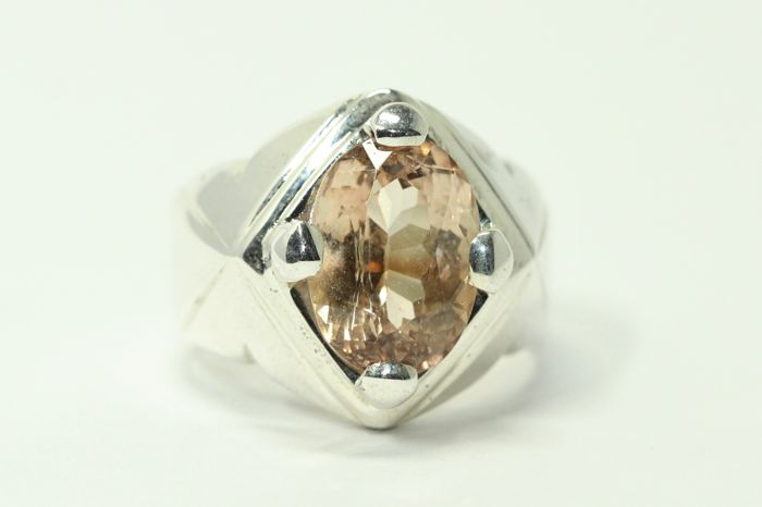 Silver men's ring set with natural champagne topaz, size 63.