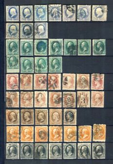 USA 1870/1881 - Presidents, Large accumulation to sort out by printer, between Scott 134 and 190