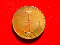 Dominican Republic – 1/4 copper real, 1844. Kr 1. Scarce.