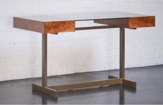 Willy Rizzo – 'Scrivania' desk in elm burl and brass base