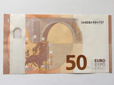European Union - Italy - new banknote of 50 euros 2017 Draghi - white band - banknote with double error.