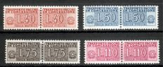 Italy 1953/55, two complete sets of parcel delivery stamps Michel No. 1-8