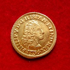 Spain – Felipe V (1700–1746), 1 escudo gold coin, Madrid, 1736. JF.  Very Rare.