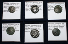 Lot of 6 Greek Coins - Various issues of Thessalonica and Automous Macedon - All Classified