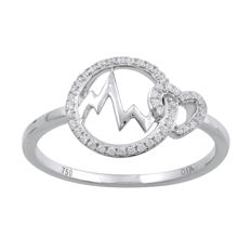 18Kt. white gold heart beats fashion designer ring set with diamonds 0.11ct.,GH colour and P2 clarity. Ring size N/54 (Free Ring Sizing available in Antwerp) ***no reserve price***