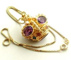 Gold pendant with amethyst and aquamarine - length: 20 cm