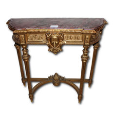 Napoleon III golden console table with gold leaf and Fior di Pesco marble - France - 19th century.