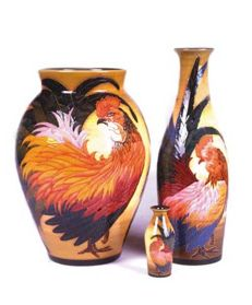 Sally Tuffin - Cockerel  vase set- 4x