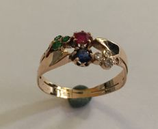 Gold ring sapphire-ruby-emerald and diamond, ca. 1900