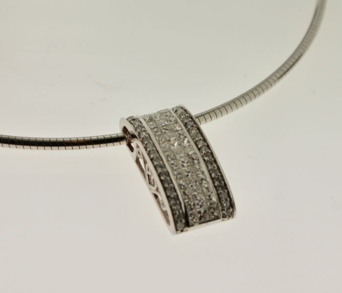 18 kt white gold necklace inlaid with diamond, 1.70 ct - length: 42 cm
