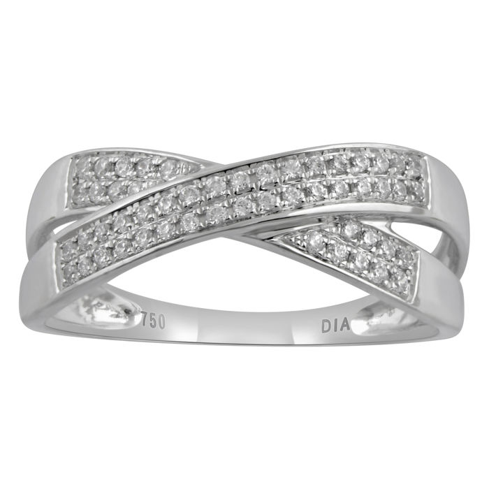 18kt White Gold Cross Band Wedding Ring With Round Diamonds 0 24ct