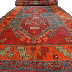 "Antique Hamadan - 422 x 107 cm - ""Vintage - Long Persian runner in beautiful, antique condition"" - With certificate"