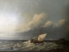 2 x TW Hilverdink (20th century) - Maritime paintings counterparts