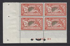 France 1907 - 2 francs, type Merson - Yvert 145 in block of 4