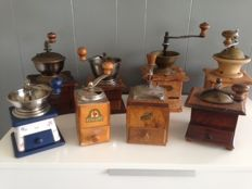 Collection of 8 old, wooden coffee grinders [ca 1950]