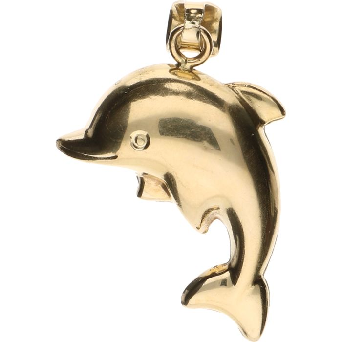 14 kt Yellow gold pendant in the shape of a dolphin – Length: 4 cm.