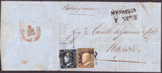 Kingdom of Sicily, 1859 — Large letter front, sea tariff, with 10 grana (re-touch no. 9) + 1 grano