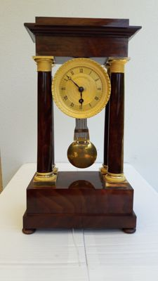 French Cuba Mahogany Column Pendulum - around 1840