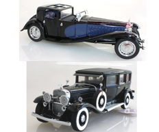 Franklin Mint - Scale 1/24 - Al Capone's Cadillac V-16 452 Imperial Sedan 1930 and Bugatti Royale Napoleon 1930 with Certificates