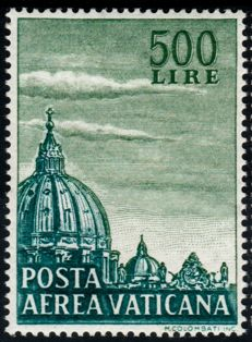 "Vatican City 1958 - Air Mail Domes ""Posta Aerea Cupoloni"" Perforated K 14 - Sassone 33/I  - 34/I"