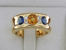 Bague OR Jaune 18 carats + Saphirs + Diamants