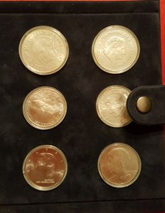 The Netherlands - 10 guilder coin 1970/1997, Juliana and Beatrix (6 different) - silver
