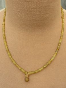 Roman Empire - necklace with yellow iridescent glass beads - 45 cm + 1.5 cm