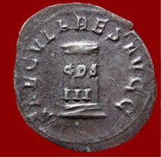 Roman Empire - Philip I (244-249 A.D.) silver antoninianus (4,15 g. 25 mm), minted in Rome in 249 A.D. SAECVLARES AVGG – Cippus, inscribed COS / III. Scarce.