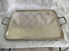 Large serving tray, probably model Perles, Christofle, Paris 20th century