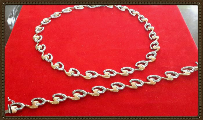 Set of choker and bracelet in 18 kt gold – Choker: 45 cm – Bracelet: 20 cm
