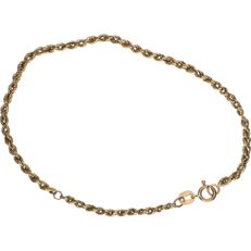 8 kt Yellow gold twisted rope link bracelet – Length: 20 cm.