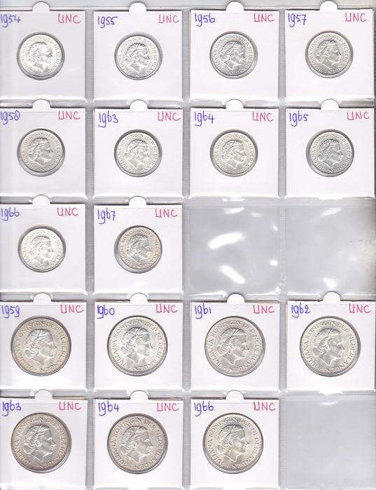 The Netherlands – 1 guilder coin 1954/1967 + 2½ guilder coin 1959/1966 Juliana (17 different coins) – silver