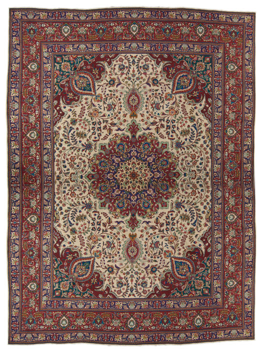 (Dimensions 387 x 297 cm) Authentic Original TABRIZ Persian Rug (IRAN) – With Certificate of Authenticity from official appraiser – GalleriaFarah1970