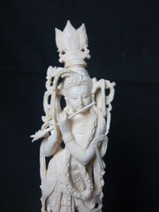 Large ivory sculpture of Krishna - India - approx. 1920-1930
