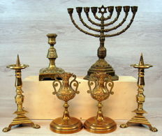 Collection of six antique candle holders