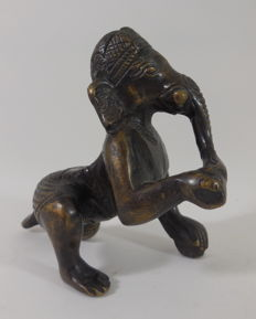 Bronze, crawling Ganesha - India - 3rd quarter 20th century