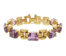 18 kt Gold bracelet with amethyst – Length: 20 cm