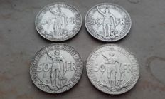 """Belgium – 50 franc, 1935, French and Flemish (positions A and B) """"Expo Brussels"""" (four coins) – silver"""