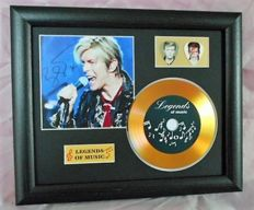 David Bowie Preprinted Autograph, Gold Disc & Plectrum Presentation