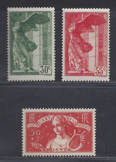 France 1935/1937 – Intellectuals + Louvre  – Yvert 308 + 354/355