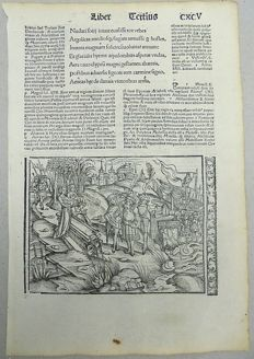 Incunabula woodcut leaf - Virgil's Aeneid - Andromache in Chaonia- Galleon - 1502