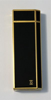 Cartier Paris Gas Lighter Black Enamel & Gold Trim