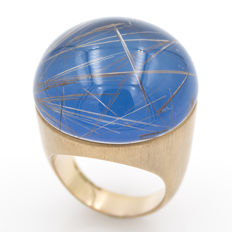 Roberto Coin – Ring in 18 kt rose gold with agate and rutilated quartz – Size: 13.