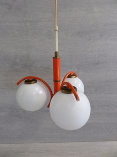 Unknown designer – Orange Space Age Pendant Lamp – 3 x Light Spheres