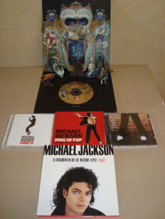 """Michael Jackson: Dangerous: Limited Edition Pop Up-album (First printing) + 7"""" Vinyl Belgian promo for the album """"Bad"""" + 3 cd's (including one double album """"King Of Pop - The Hong Kong Collection)"""