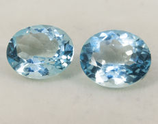 2 (pair) sky blue topazes– 11,61 ct total  No Reserve Price