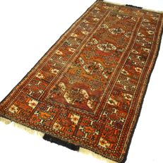 Turkoman - 192 x 101 cm - 'Authentic Persian carpet - 100% wool - in beautiful, mint condition' - with certificate.