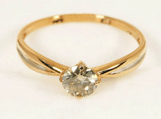 14 k Golden ring round  with Diamond 0,40 ct. - Size 18,5