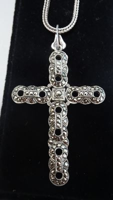 Silver Cross Pendant set with markasites on a necklace, 45.5 cm - 1960s